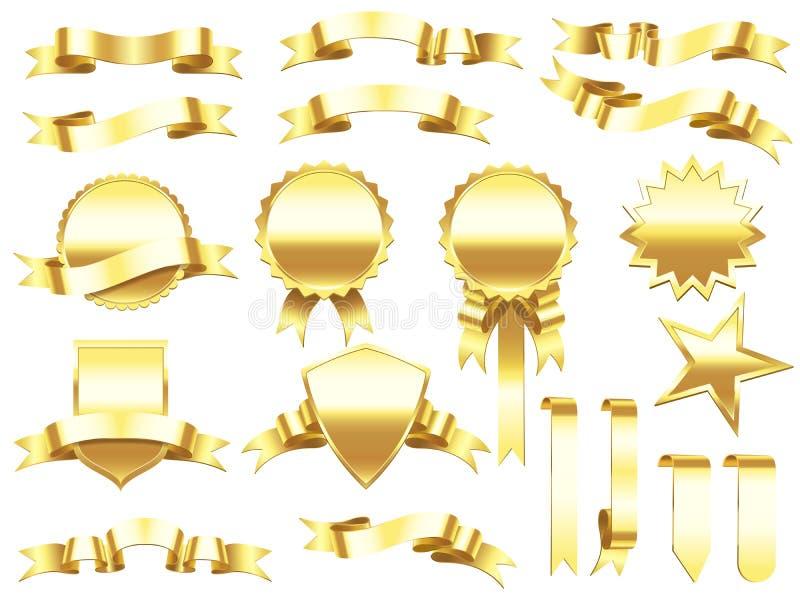 Fita da bandeira do ouro Etiquetas das fitas e bandeiras douradas elegantes dos produtos Grupo superior do vetor do sinal da etiq ilustração stock