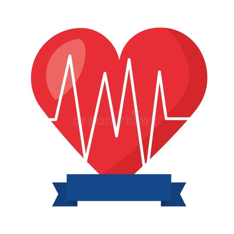 Fita da cardiologia da pulsação do coração ilustração stock
