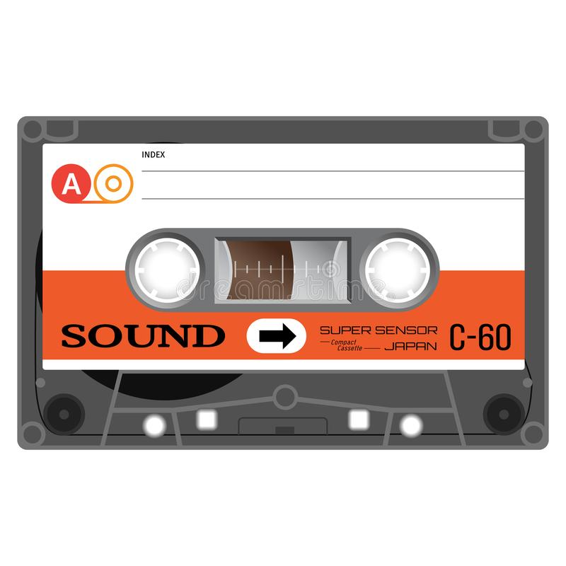 Fita da cassete áudio do vintage ilustração stock