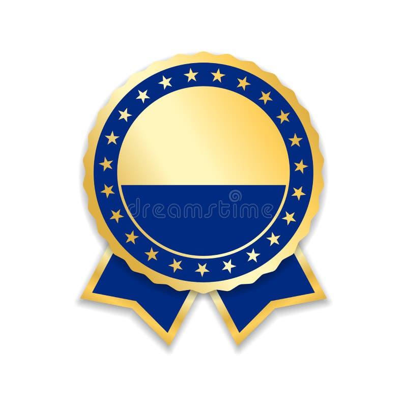Fita da concessão isolada Medalha azul do projeto do ouro, etiqueta, crachá, certificado A melhor venda do símbolo, preço, qualid ilustração stock