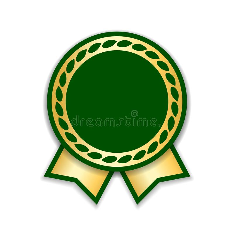 Fita da concessão isolada Medalha do projeto do verde do ouro, etiqueta, crachá, certificado E ilustração stock