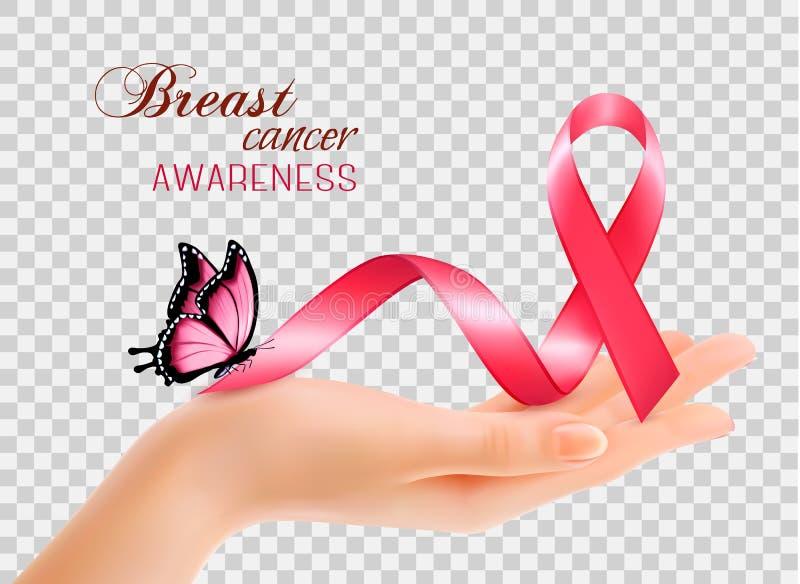 Fita da conscientização do câncer da mama com mão das mulheres ilustração royalty free