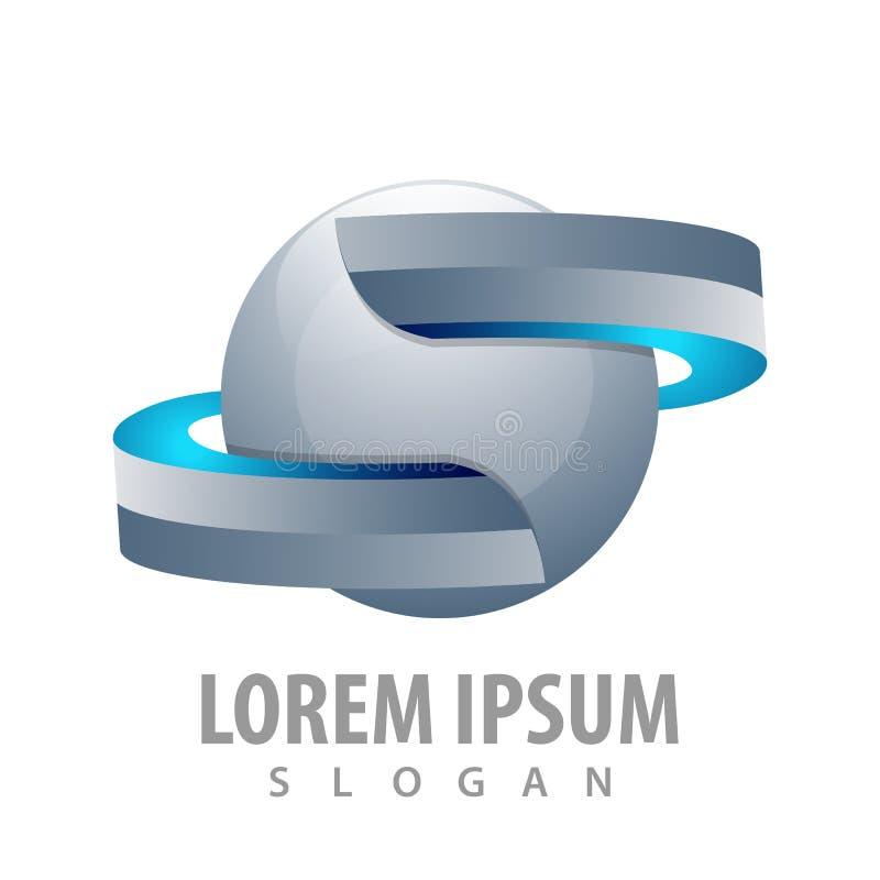 Fita da esfera no projeto de conceito do estilo 3D Vetor gráfico do elemento do molde do símbolo ilustração royalty free