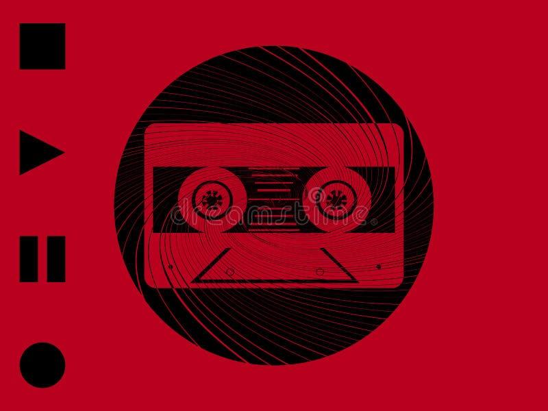 Fita da música do vintage e beira circular do redemoinho no fundo vermelho ilustração royalty free