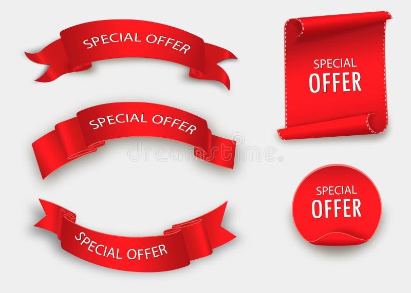 Fita da oferta especial Rolo vermelho Etiqueta da venda da bandeira Disconto da oferta especial do mercado ilustração royalty free