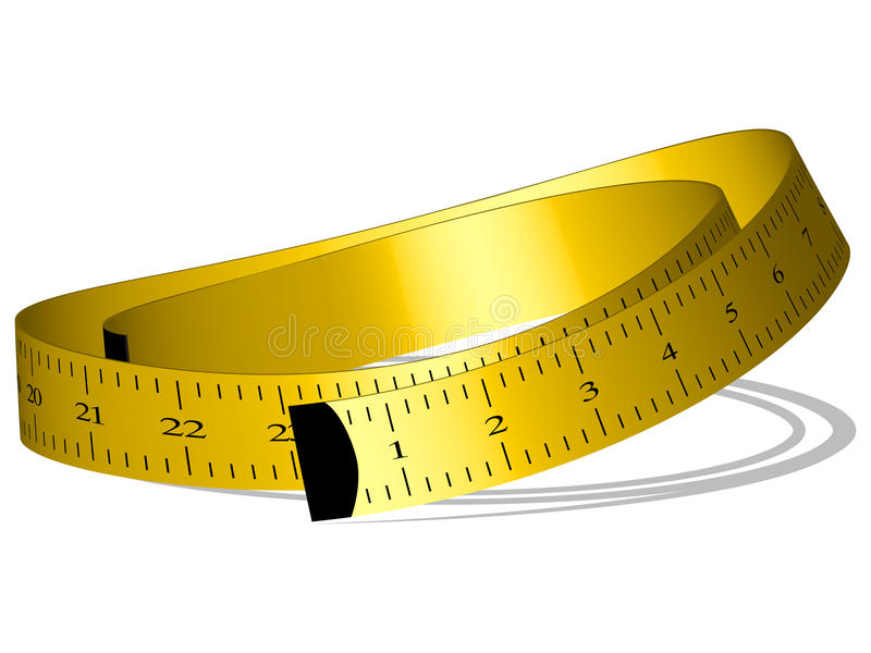 Fita de medição amarela ilustração do vetor