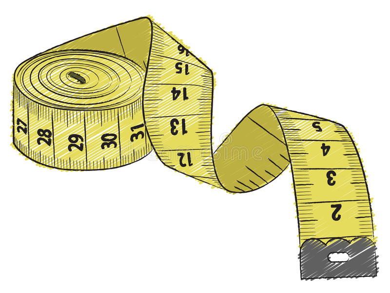 Fita de medição amarela ilustração stock
