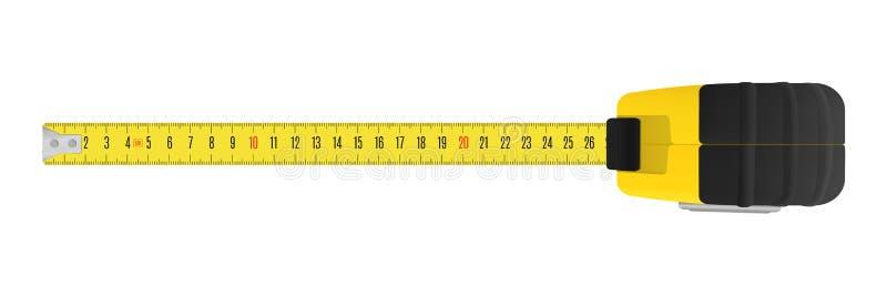 Fita de medição amarela com uma escala das unidades métricas ilustração stock