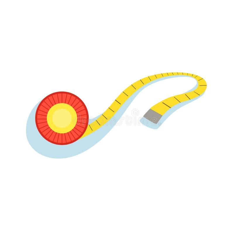 Fita de medição amarela para verificar a distância e monitorar a ilustração do vetor do progresso da melhoria da forma do ilustração royalty free