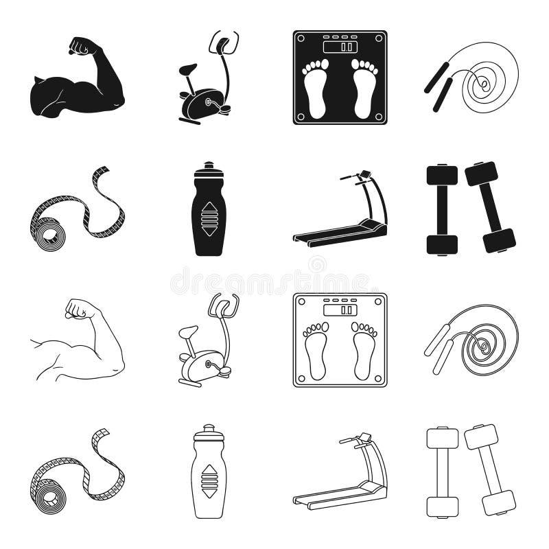 Fita de medição, garrafa de água, escada rolante, pesos Ícones ajustados da coleção de Fitnes no preto, símbolo do vetor do estil ilustração royalty free