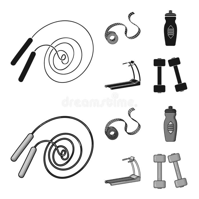 Fita de medição, garrafa de água, escada rolante, pesos Ícones ajustados da coleção de Fitnes no símbolo preto, monocromático do  ilustração do vetor