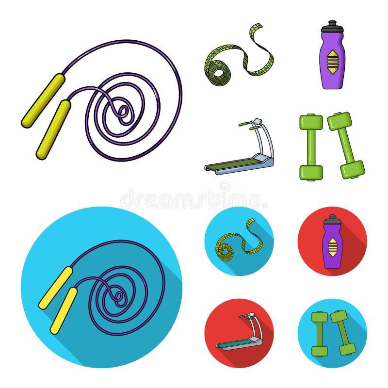 Fita de medição, garrafa de água, escada rolante, pesos Ícones ajustados da coleção de Fitnes nos desenhos animados, símbolo liso ilustração stock