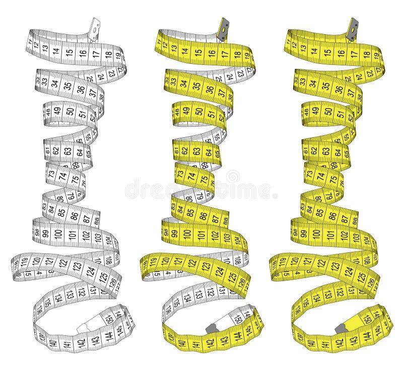Fita de medição nas cores brancas e amarelas Tema para o estúdio, costura, projeto do sumário da dieta ilustração stock
