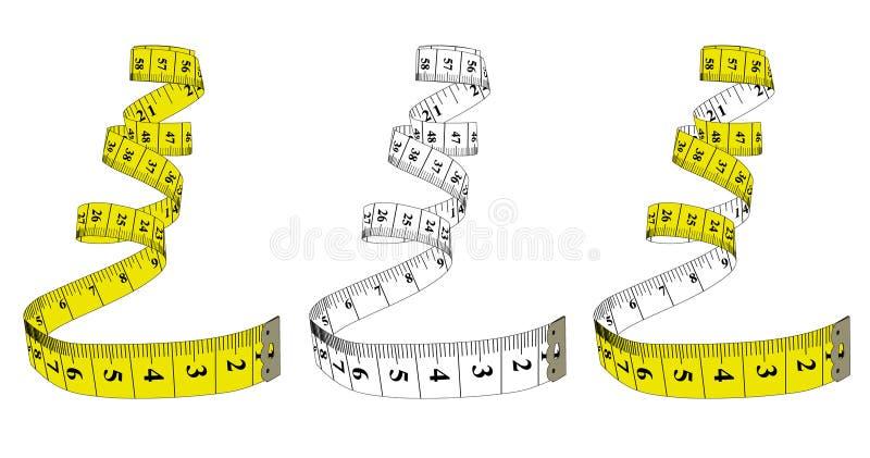 Fita de medição, tema da dieta Tema para o estúdio, costura VE ilustração do vetor