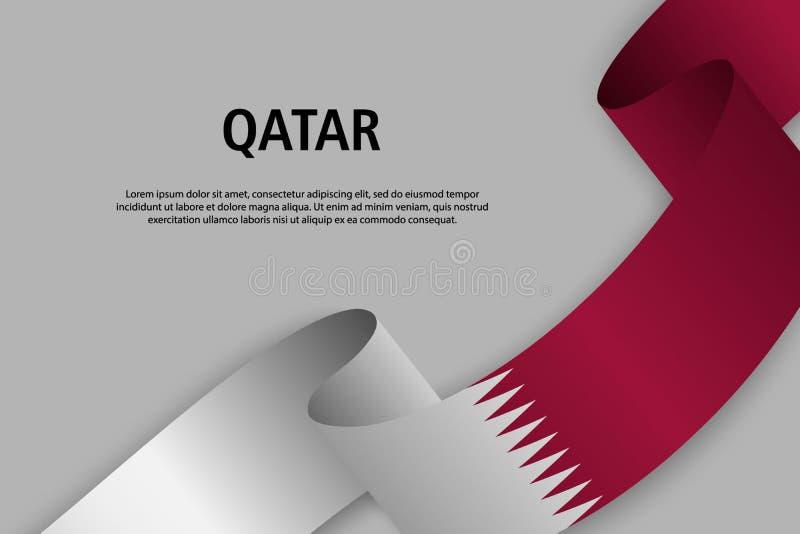 Fita de ondulação com a bandeira de Catar ilustração do vetor