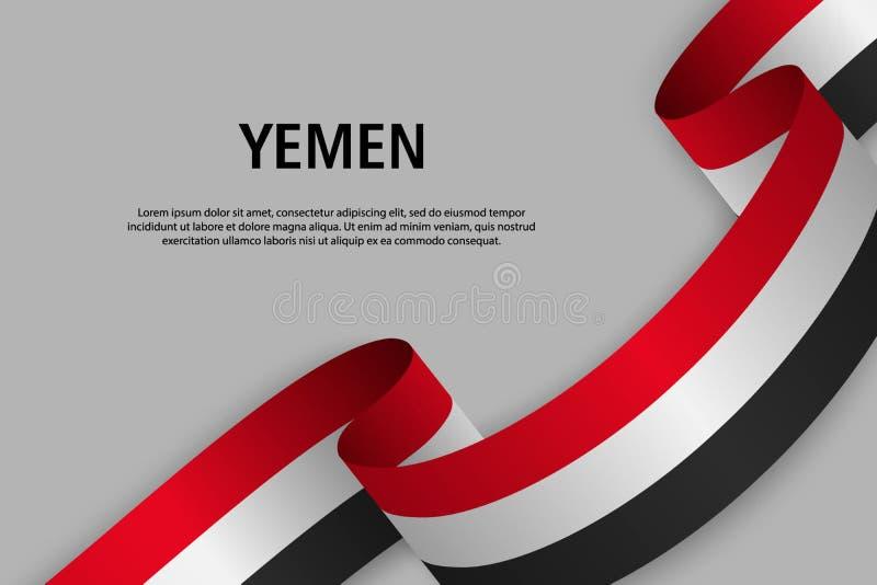 Fita de ondulação com a bandeira de Iémen ilustração stock