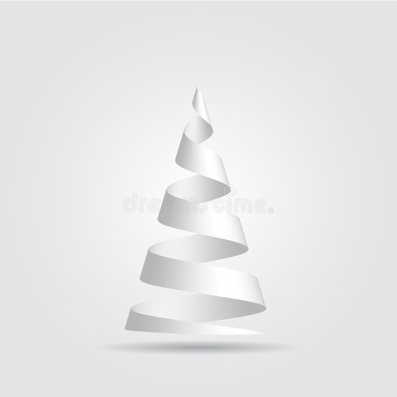 A fita de papel vermelha simples dobrou-se em uma forma da árvore de Natal Tema do Feliz Natal ilustração do vetor 3D no branco ilustração royalty free