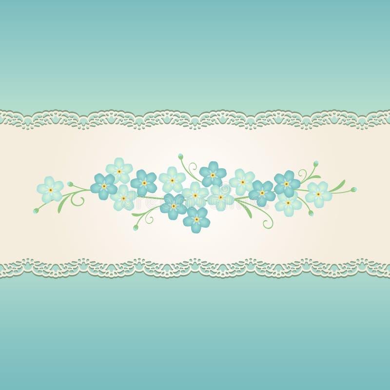Fita decorativa do vintage sem emenda com o ornamento floral do miosótis no fundo do azul de turquesa ilustração royalty free