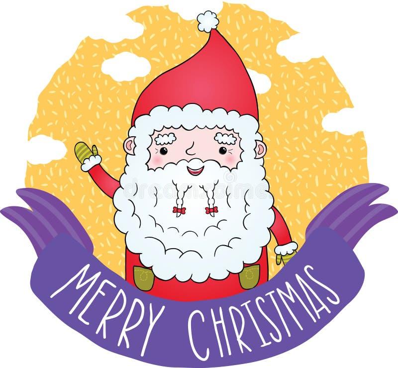 Fita do Feliz Natal de PrintCute com Santa Claus ilustração royalty free
