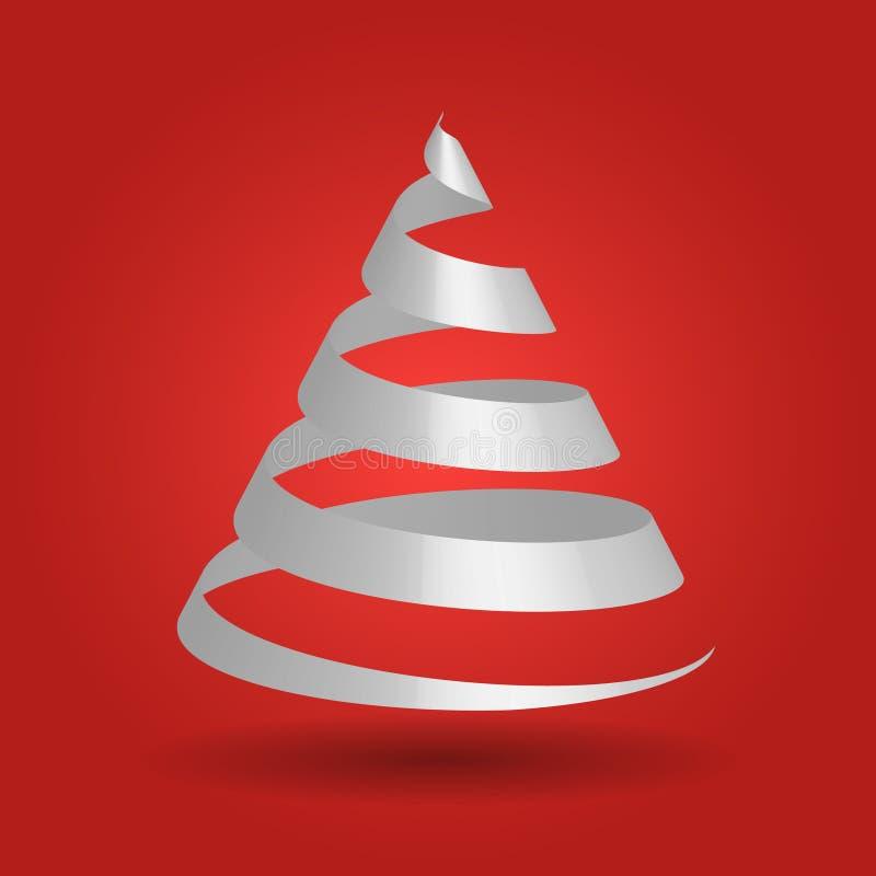A fita do Livro Branco dobrou-se em uma forma da árvore de Natal ilustração stock