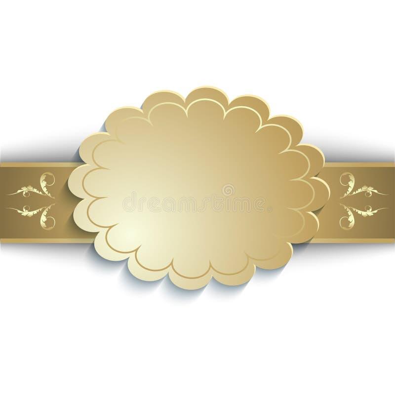 Fita do ouro com um lugar para uma inscrição ilustração stock