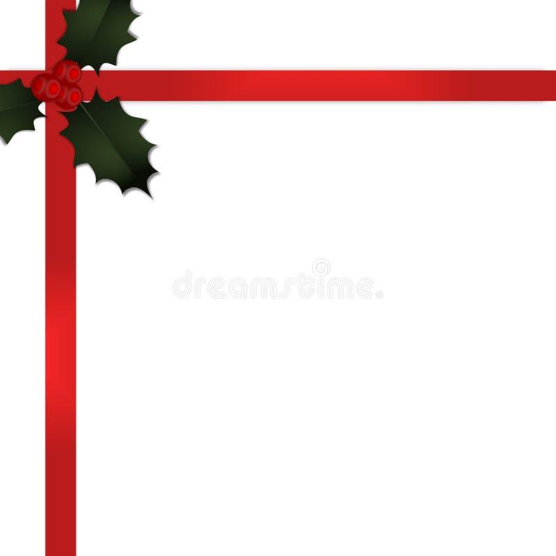 Fita do presente do Natal com azevinho v2 ilustração stock