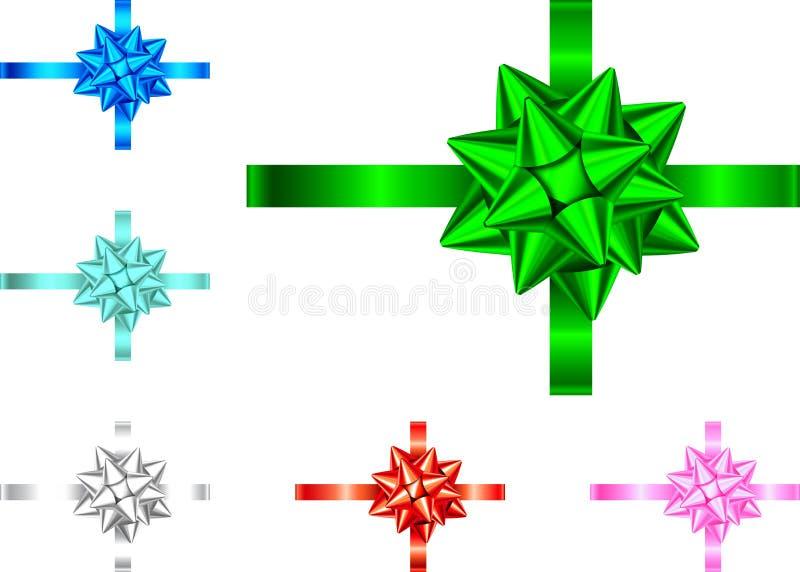 Fita do presente e curva azuis, vermelhas, verdes, cor-de-rosa, de prata ilustração royalty free