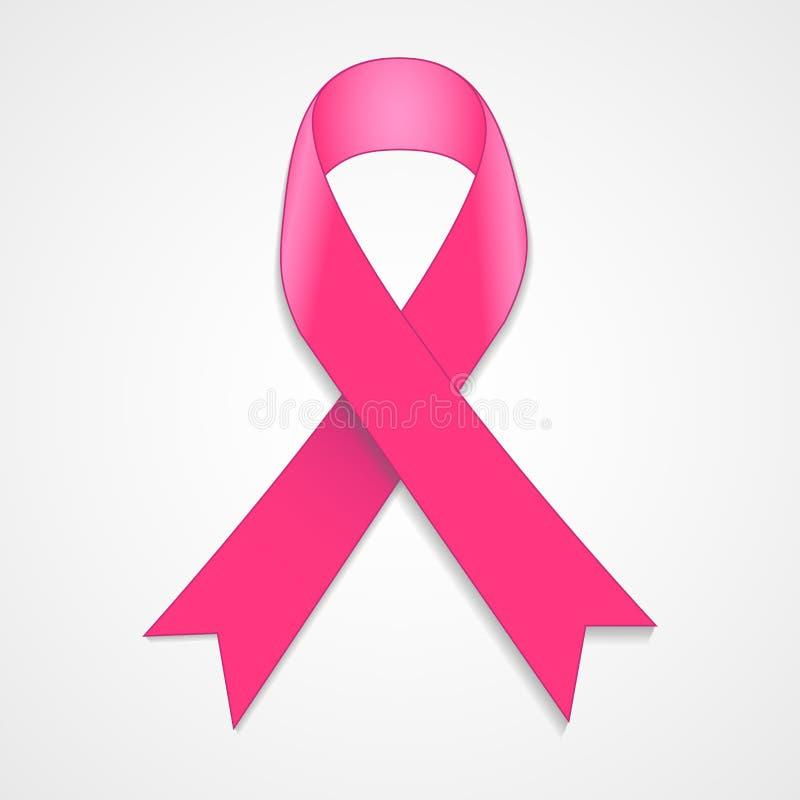 Fita do rosa da conscientização do câncer da mama no fundo branco ilustração do vetor