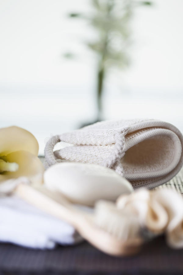 Fita do sabão e da massagem da escova da massagem da casca imagens de stock