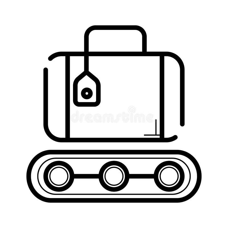 fita do transporte para o ícone das malas de viagem ilustração do vetor