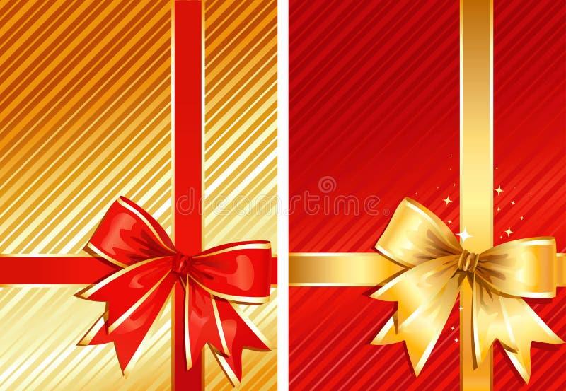 Fita dourada & fita vermelha/dois presentes/vetor ilustração royalty free