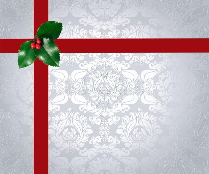 Fita e azevinho do Natal ilustração stock