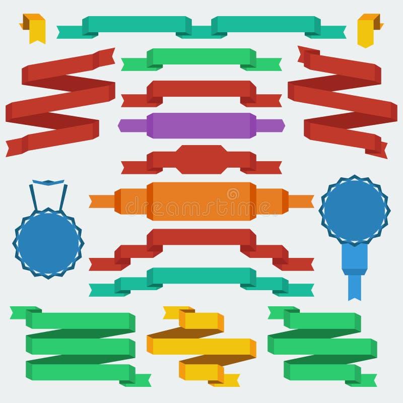Fita e bandeiras lisas do estilo do projeto ilustração do vetor