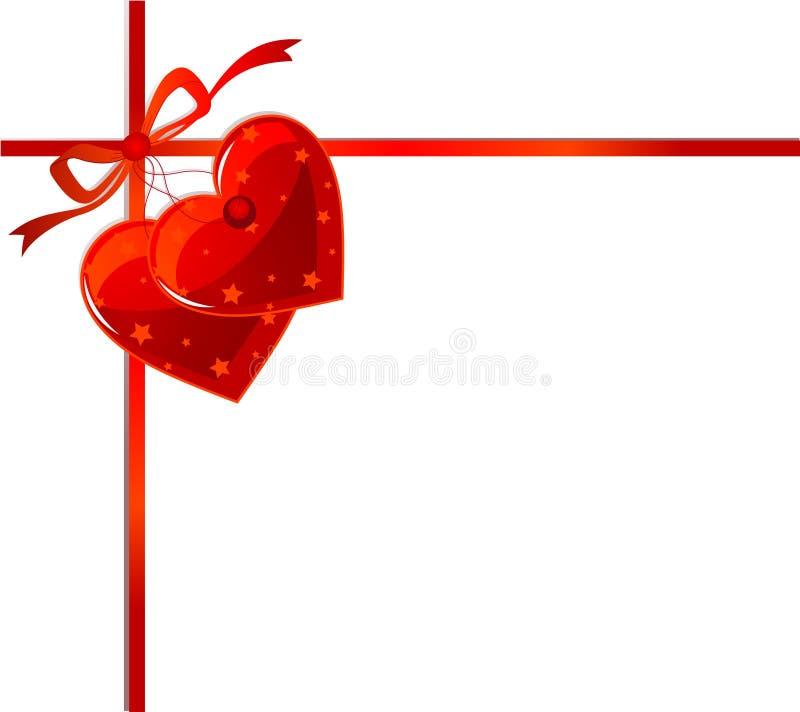 Fita e corações vermelhos ilustração stock