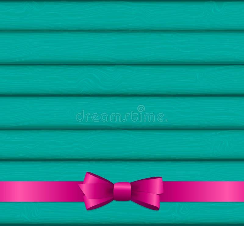 Fita e curva cor-de-rosa no fundo de madeira para o aniversário Cristo ilustração stock