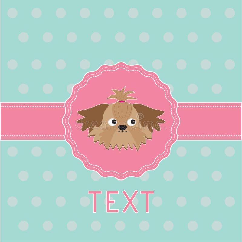 Fita e etiqueta cor-de-rosa com cão de Shih Tzu. Cartão. ilustração stock