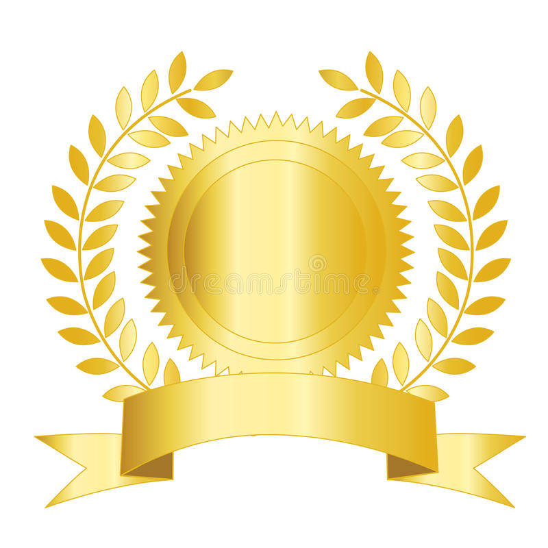 Fita e louro do selo do ouro ilustração stock