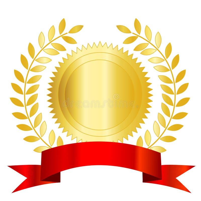 Fita e louro vermelhos do selo do ouro ilustração royalty free