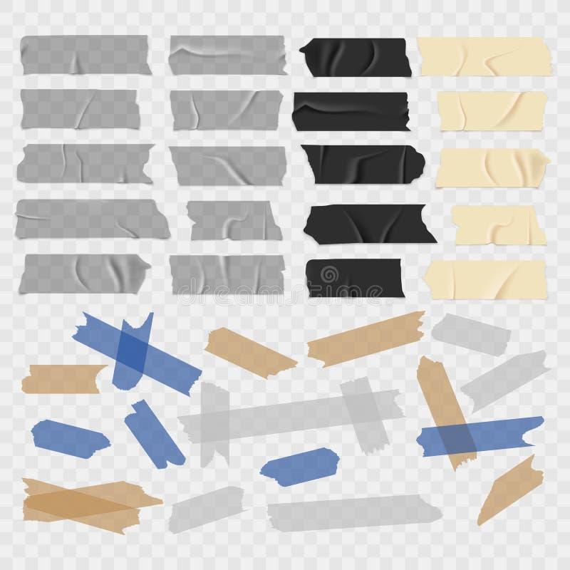 Fita escocêsa Grunge velho e preto, fitas adesivas transparentes, grupo pegajoso do vetor da parte do canal ilustração stock