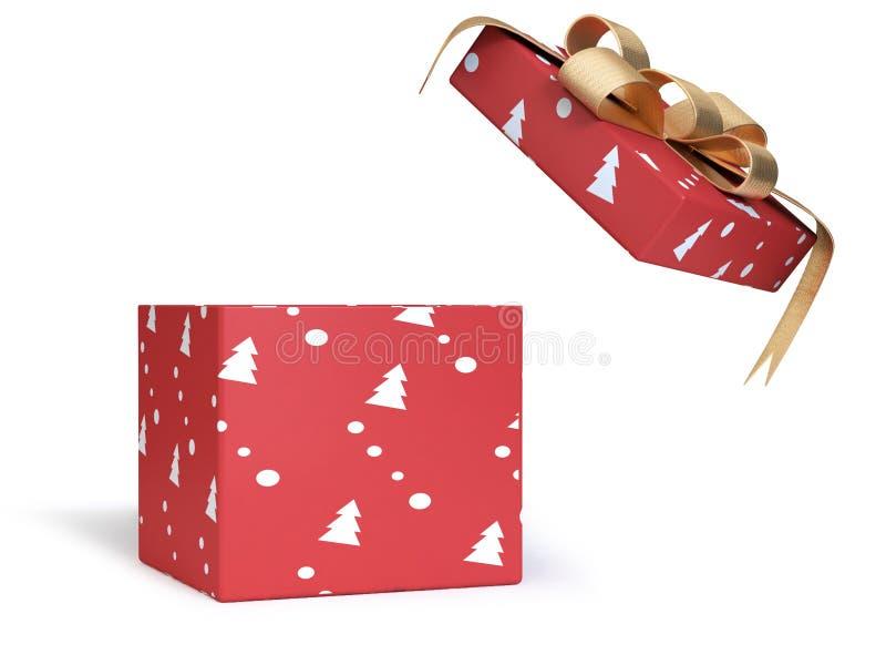 fita metálica aberta do ouro da caixa de presente vermelha da rendição 3d, conceito do ano novo do Natal do feriado ilustração do vetor