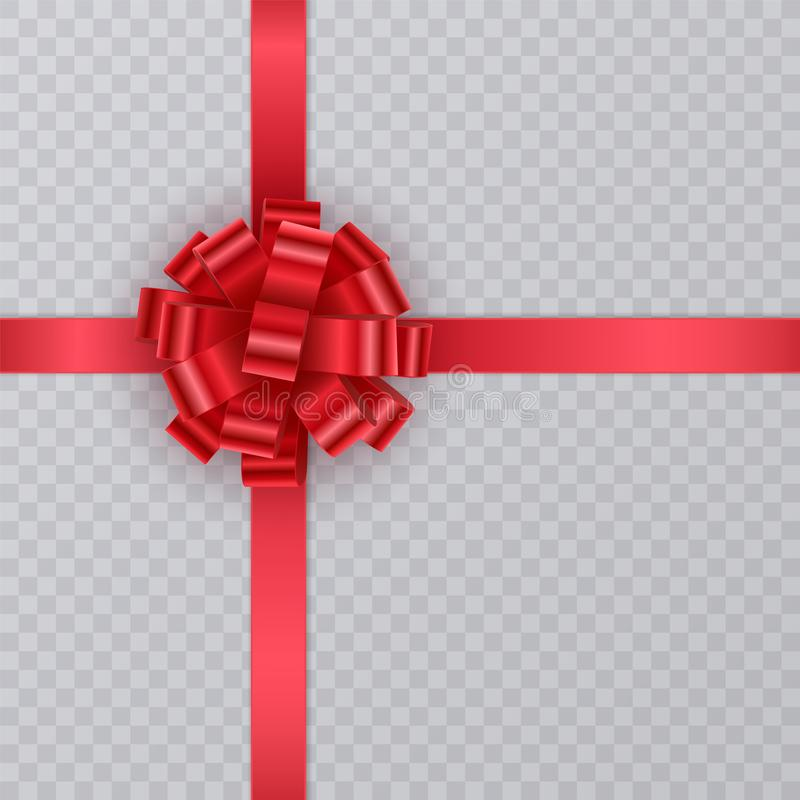 Fita realística do presente, curva vermelha no fundo transparente Elemento do presente para o projeto de cartão Fundo do feriado  ilustração do vetor