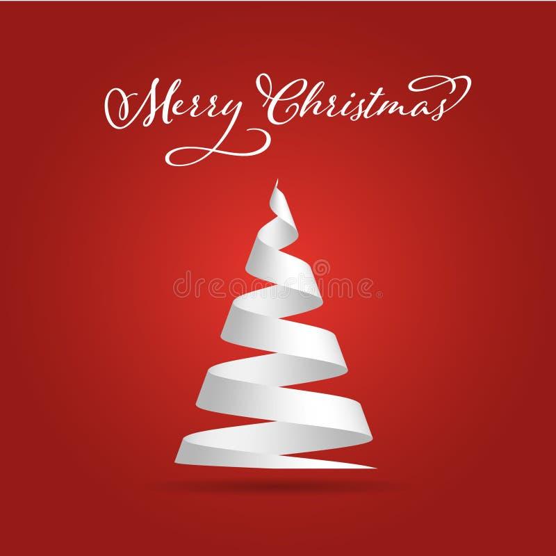 A fita simples do Livro Branco dobrou-se em uma forma da árvore de Natal Tema do Feliz Natal ilustração do vetor 3D no vermelho ilustração royalty free