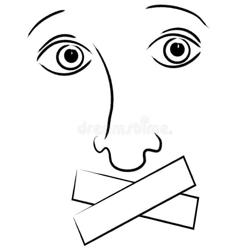 Fita sobre a expressão da boca ilustração do vetor