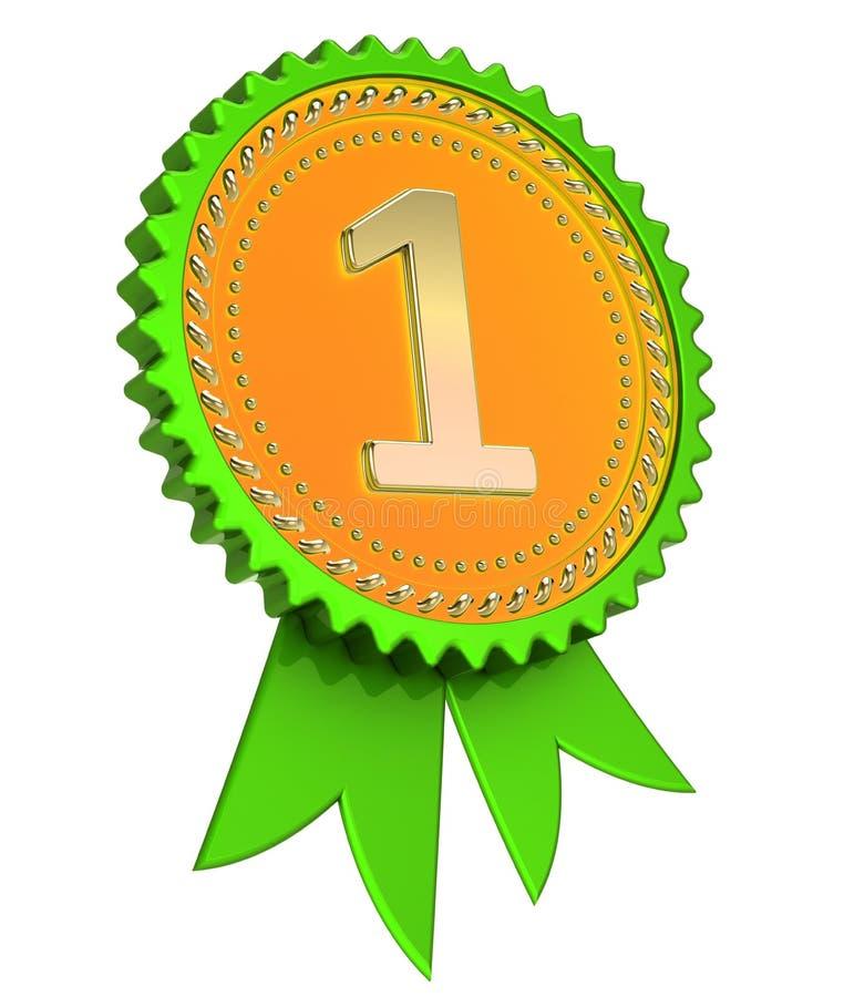Fita verde número 1 da concessão uma medalha dourada primeiro primeiro lugar ilustração do vetor