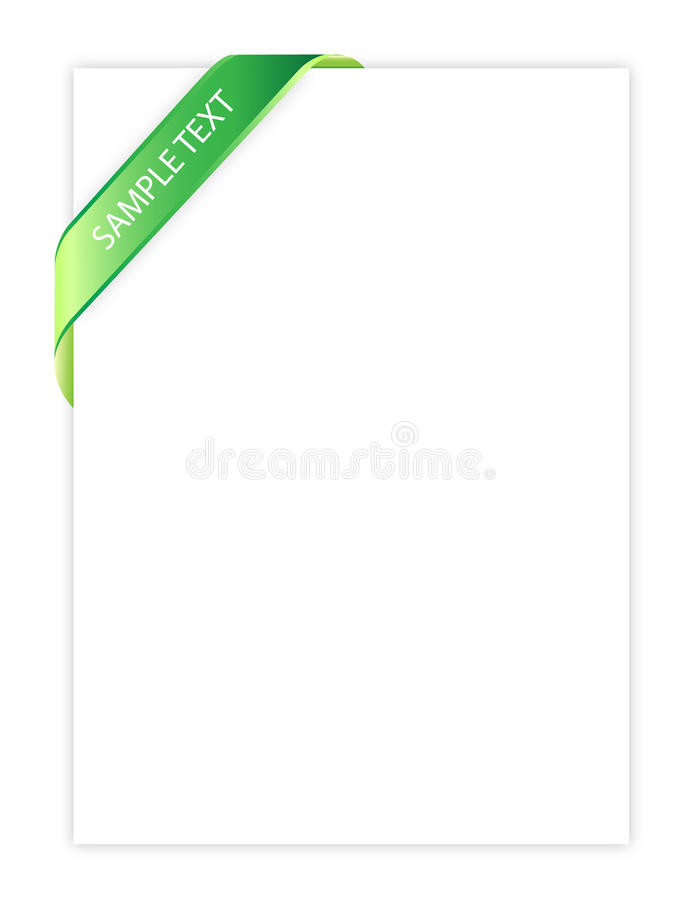 Fita verde no papel ilustração stock