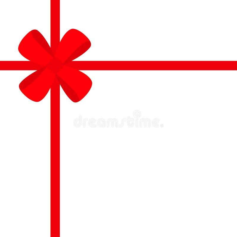 Fita vermelha com ícone da curva do presente do Natal Elemento da decoração da caixa de presente Projeto liso Fundo branco Isolad ilustração stock