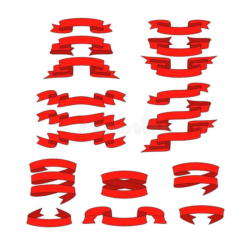 Fita vermelha com as bandeiras do vetor da sombra ajustadas fotografia de stock