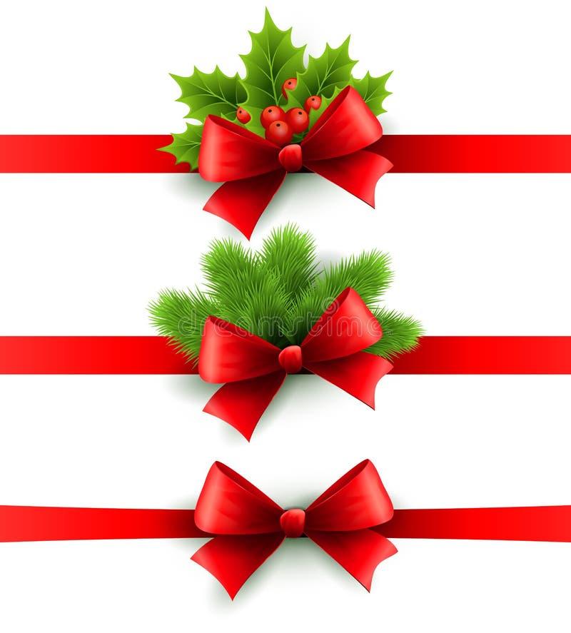 Fita vermelha do feriado com curva Azevinho e pinho ilustração stock