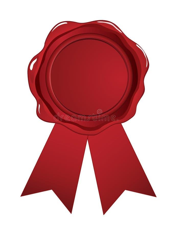 Fita vermelha do selo da cera ilustração stock