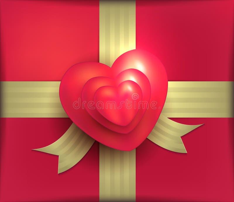 Fita vermelha Valentine Day 3D do ouro do coração da rosa do pacote do presente ilustração do vetor
